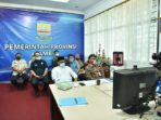 Penjabat Sekretaris Daerah (Pj.Sekda) Provinsi Jambi H.Sudirman,SH,MH saksikan video conference tentang Lomba Inovasi Daerah