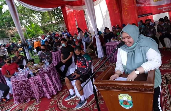 Bupati Masnah sampaikan sambutan dalam acara pencanangan kampung tangguh anti narkoba