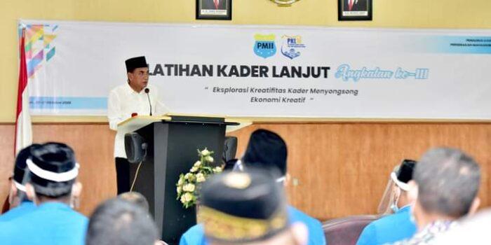 Gubernur Sumut, Edy Rahmayadi saat menghadiri dan sekaligus membuka kegiatan Pelatihan Kader Lanjutan (PKL) Angkatan III, Pengurus Kordinator Cabang (PKC) PMII Sumut