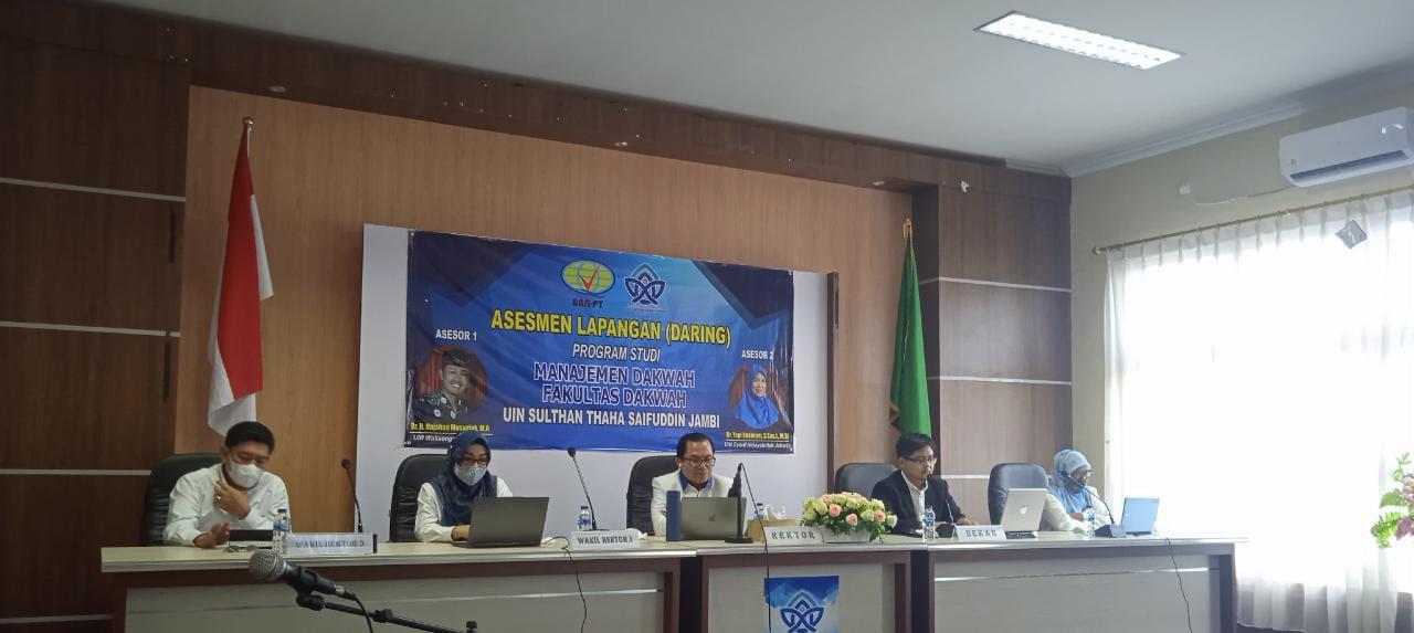 Rektor Universitas Islam Negeri Sulthan Thaha Saifuddin Jambi, Prof. Dr. H. Su'aidi, MA. Ph.D. saat membuka acara asesmen lapangan secara Daring.(Foto: Bujangdek/Jambipers.com)